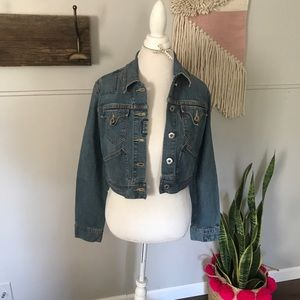 Levi's cropped horse embroidered jean jacket sz Lg